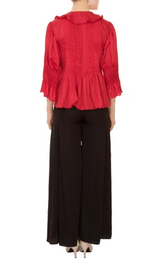red ruffle layer linen satin blouse