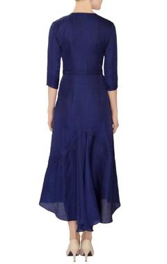 sapphire blue linen satin midi dress