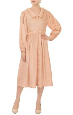flamingo beige button down sailor collar midi dress