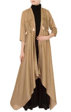 olive front open asymmetric jacket