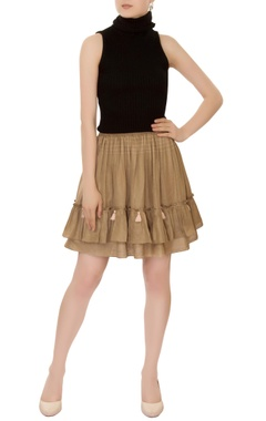 olive tiered style mini skirt