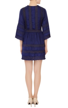 blue v-neck dress with ruched effect pleated detailing