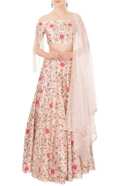 Mani Bhatia Tea pink floral zardozi & cutdana raw silk lehenga set