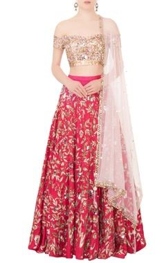 Mani Bhatia Pink raw silk cutdana & sequin embroidered lehenga set
