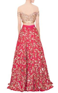Pink raw silk cutdana & sequin embroidered lehenga set