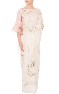 Mani Bhatia Ivory chiffon resham & cutdana work sari with pink one-shoulder blouse
