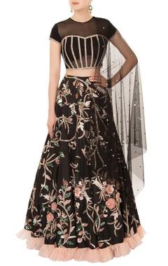 Mani Bhatia Black resham & cutdana embroidered lehenga set