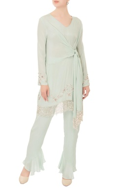 Mani Bhatia Mint green cutdana crepe silk kurta with pants