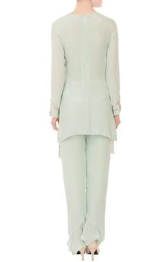 Mint green cutdana crepe silk kurta with pants