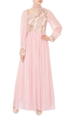 Mani Bhatia Pastel pink ruched effect georgette anarkali with attached drape