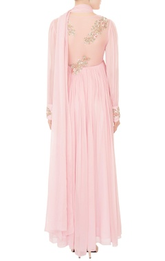 Pastel pink ruched effect georgette anarkali with attached drape