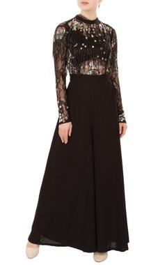 Mani Bhatia Black cutdana & sequin embroidered crepe silk jumpsuit