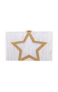 House Of Bio White & gold acrylic starlight clutch bag