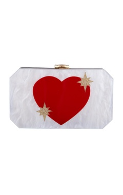 House Of Bio White & red acrylic heart clutch bag