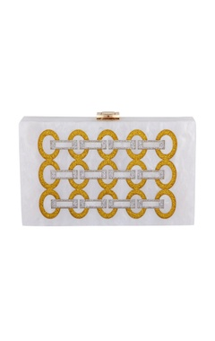 House Of Bio Gold & silver acrylic link design clutch bag