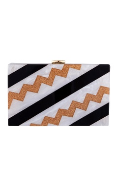 House Of Bio Black & copper acrylic abstract design clutch bag