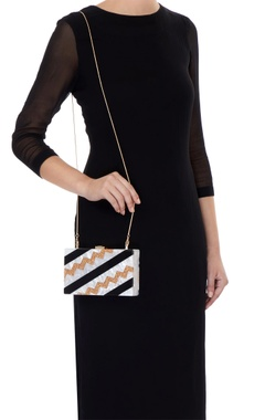 Black & copper acrylic abstract design clutch bag