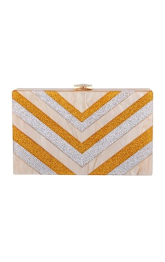 House Of Bio Silver & gold acrylic abstract design clutch bag