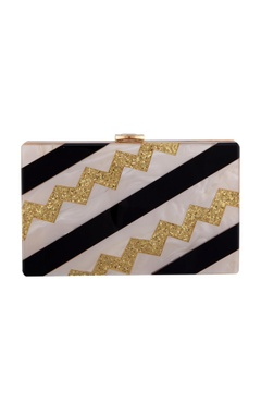 House Of Bio Black & gold acrylic abstract design clutch bag