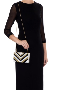 Black & gold acrylic abstract design clutch bag