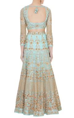 Turquoise blue satin & net aari embroidered lehenga with blouse & dupatta