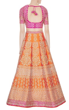 Orange & Fuschia raw silk zari embroidered lehenga with blouse & dupatta