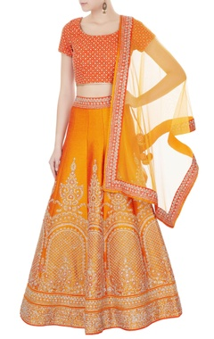 Orange raw silk zari embroidered lehenga with blouse & dupatta