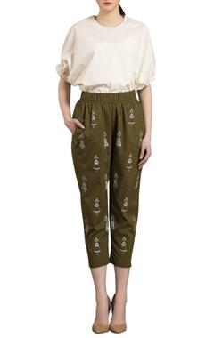 AM:PM Olive green poplin elasticized cropped pants