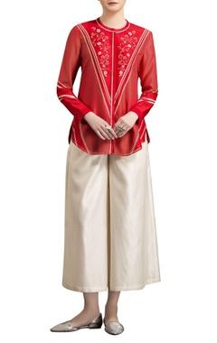 AM:PM Ivory & red chanderi digital printed shirt