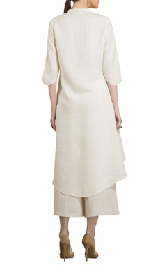 Ivory linen sequins embroidered kurta with palazzos