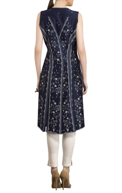 Ivory & navy blue chanderi floral digital printed asymmetric tunic with straight pants