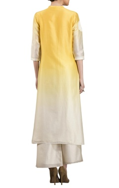 Yellow & white chanderi ombre kurta with palazzos