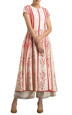 AM:PM Ivory & red chanderi digital printed anarkali jacket with palazzo