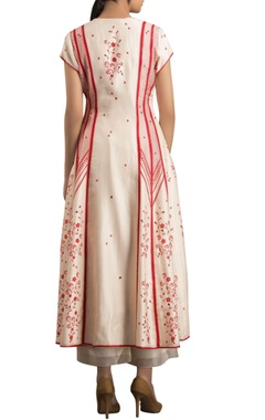 Ivory & red chanderi digital printed anarkali jacket with palazzo