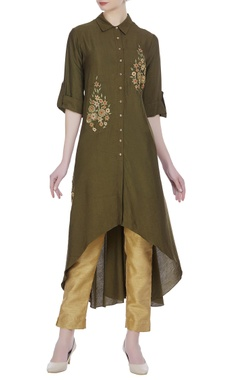 Joy Mitra Flower embroidered collar tunic