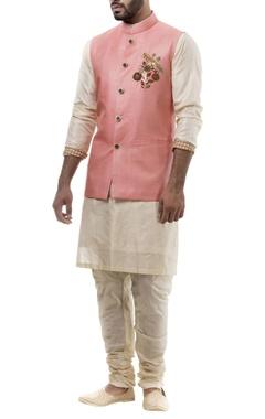 Rose pink silk parrot motif nehru jacket set