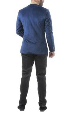 Navy blue velvet zardozi bandhgala with trousers