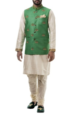 Green zari work silk nehru jacket set