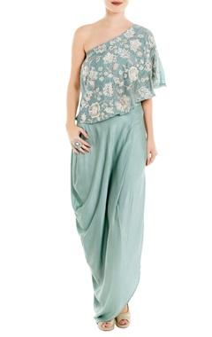 Roshni Chopra Blue one-shoulder top with cowl skirt