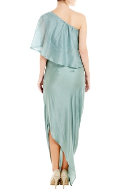 Blue one-shoulder top with cowl skirt