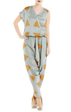 Roshni Chopra Blue & orange printed satin jumpsuit