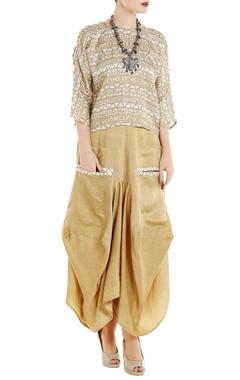 Roshni Chopra Beige linen silk dhoti skirt