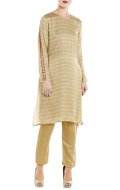 Roshni Chopra Beige satin cutout kurta with linen silk straight pants