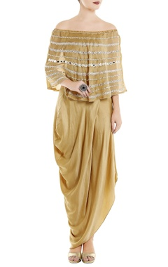 Roshni Chopra Beige chanderi off shoulder top & skirt