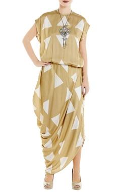 Roshni Chopra Beige satin draped maxi dress