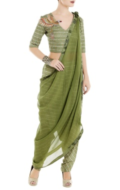 Green tropical printed crop top with cowl pants & dupatta