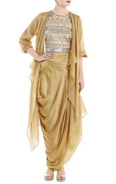 Roshni Chopra Beige fringe top with cape & dhoti skirt