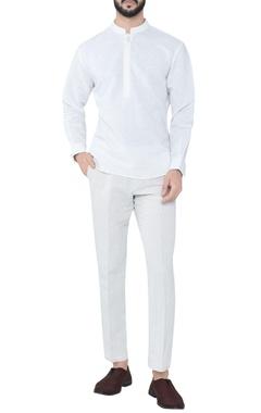 white cotton linen tonal embroidered kurta
