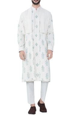 natural mughal inspired hand-woven cotton cape