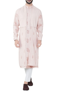 pink double layered hand-woven cotton cape